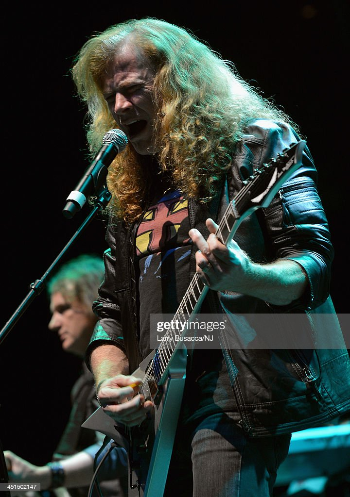Megadeth's Dave Mustaine performs during Playin' Possum! The Final No Show Tribute To George Jones - Show at Bridgestone Arena on November 22, 2013 in Nashville, Tennessee.