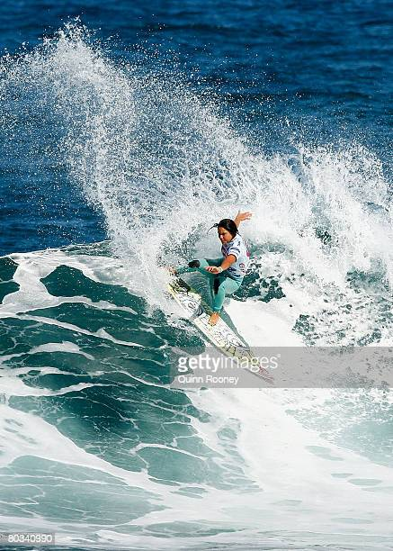 Megan Abubo of Hawaii competes during round three of the Rip Curl Pro as part of the ASP World Tour held at Bells Beach March 22 2008 in Torquay...