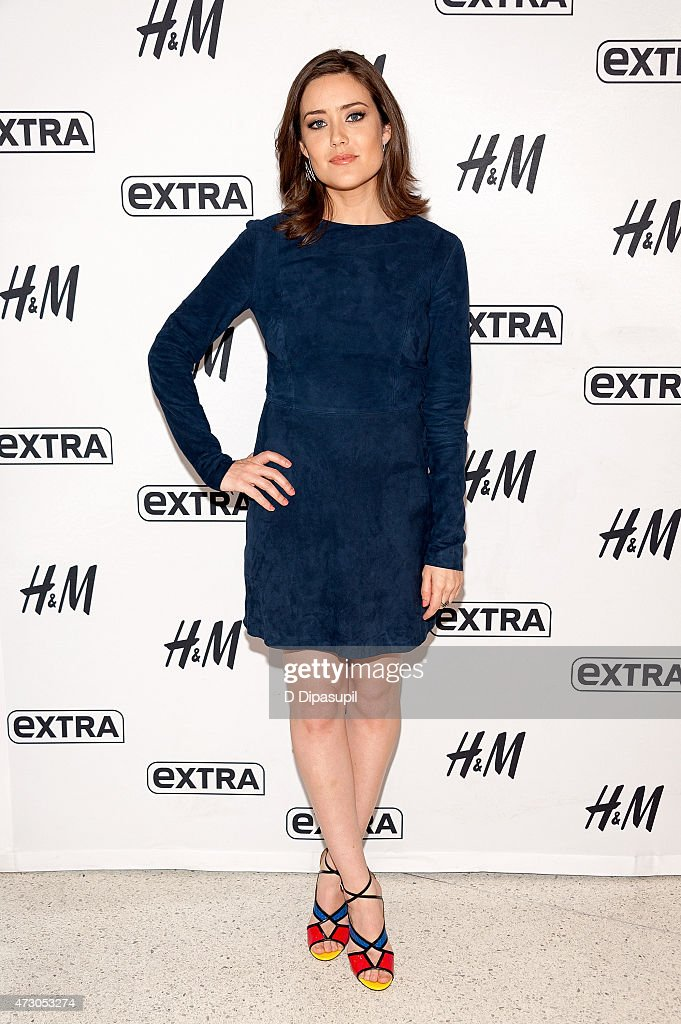 Megan Boone visits 'Extra' at their New York studios at H&M in Times Square on May 12, 2015 in New York City.