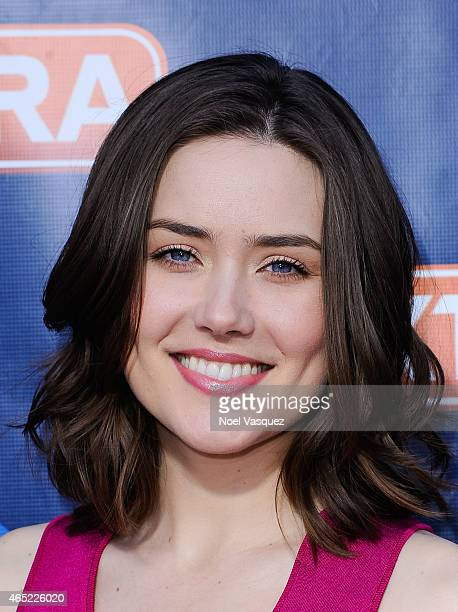 Megan Boone visits 'Extra' at Universal Studios Hollywood on March 4 2015 in Universal City California