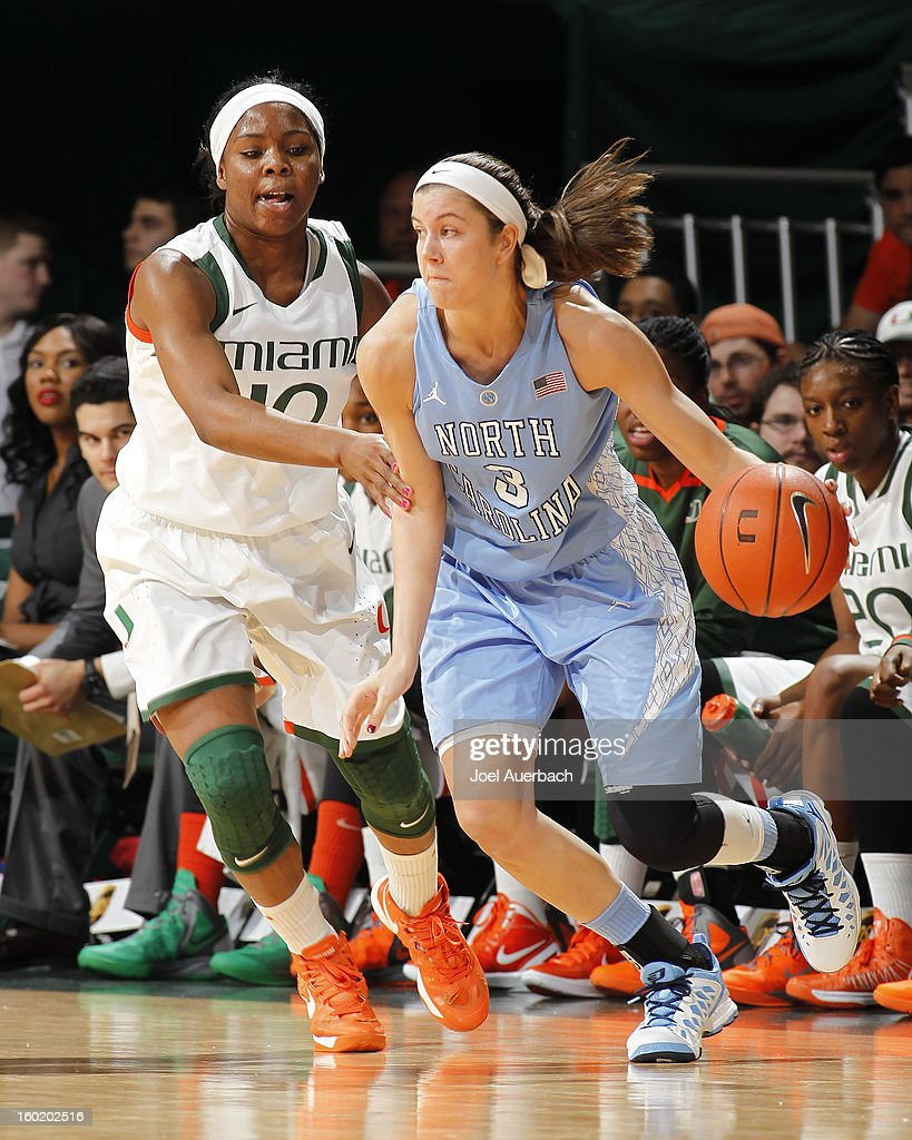 Megan Buckland #3 of the North Carolina Tar Heels dribbles the ball against Michelle Woods #10 of the Miami Hurricanes on January 27, 2013 at the BankUnited Center in Coral Gables, Florida.