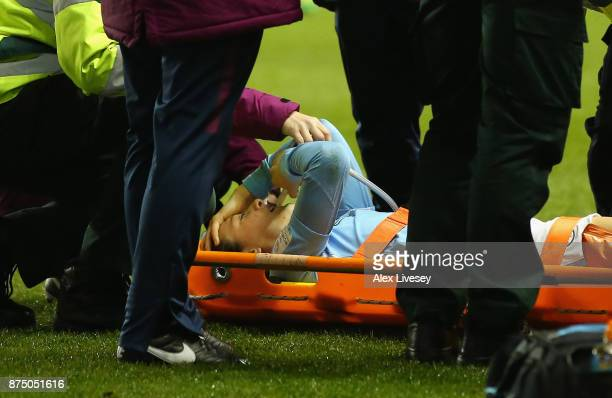 Megan Campbell of Manchester City Women is stretchered off injured during the UEFA Women's Champions League match between Manchester City Women and...