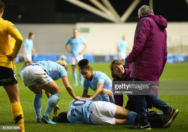 Megan Campbell of Manchester City Women lies injured during the UEFA Women's Champions League match between Manchester City Women and LSK Kvinner at...
