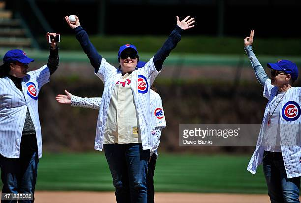 Megan Cavanagh one of the stars of the movie A League Of Their Own throws out the ceremonial first pitch before the game between the Chicago Cubs and...