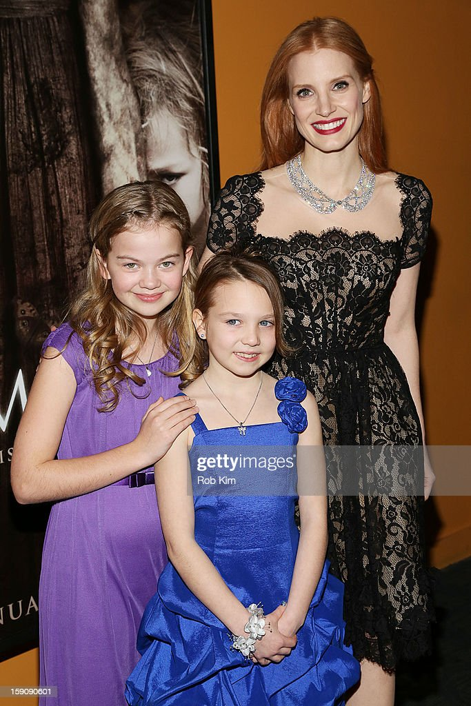 Megan Charpentier, Isabelle Nelisse and <a gi-track='captionPersonalityLinkClicked' href=/galleries/search?phrase=Jessica+Chastain&family=editorial&specificpeople=653192 ng-click='$event.stopPropagation()'>Jessica Chastain</a> attend the 'Mama' screening at Landmark's Sunshine Cinema on January 7, 2013 in New York City.