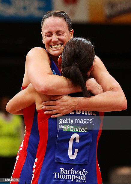 Megan Dehn of the Mystics celebrates with Temepara George after the ANZ Championship Semi Final match between the Swifts and the Mystics at Sydney...