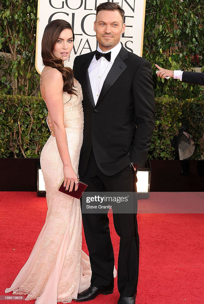 Megan Fox and Brian Austin Fox arrives at the 70th Annual Golden Globe Awards at The Beverly Hilton Hotel on January 13, 2013 in Beverly Hills, California.