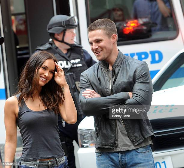 Megan Fox and Stephen Amell on the set of 'Teenage Mutant Ninja Turtles 2' on May 12 2015 in New York City