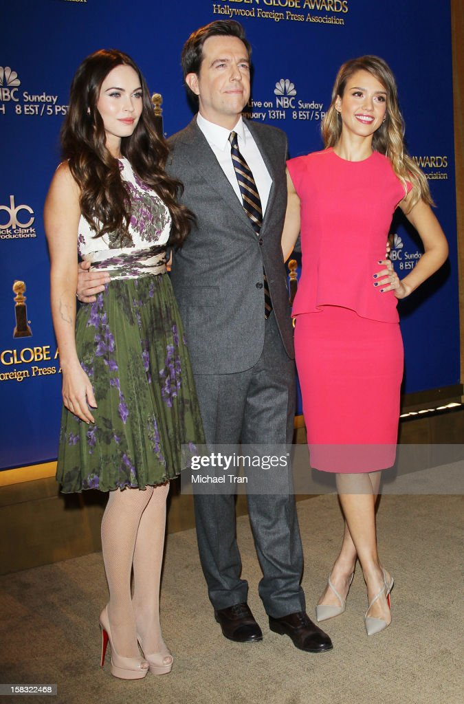 Megan Fox, Ed Helms and Jessica Alba attend the 70th Annual Golden Globe Awards nominations announcement held at The Beverly Hilton on December 13, 2012 in Los Angeles, California.