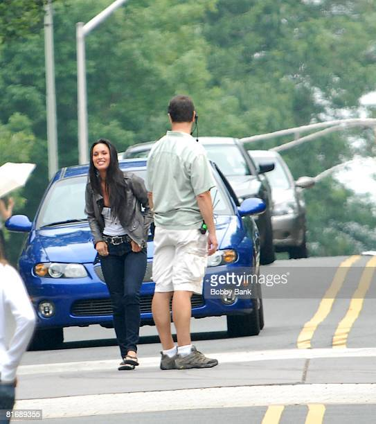 Megan Fox on location for 'Transformers 2' on the streets of Princeton on June 23 2008 Princeton New Jersey