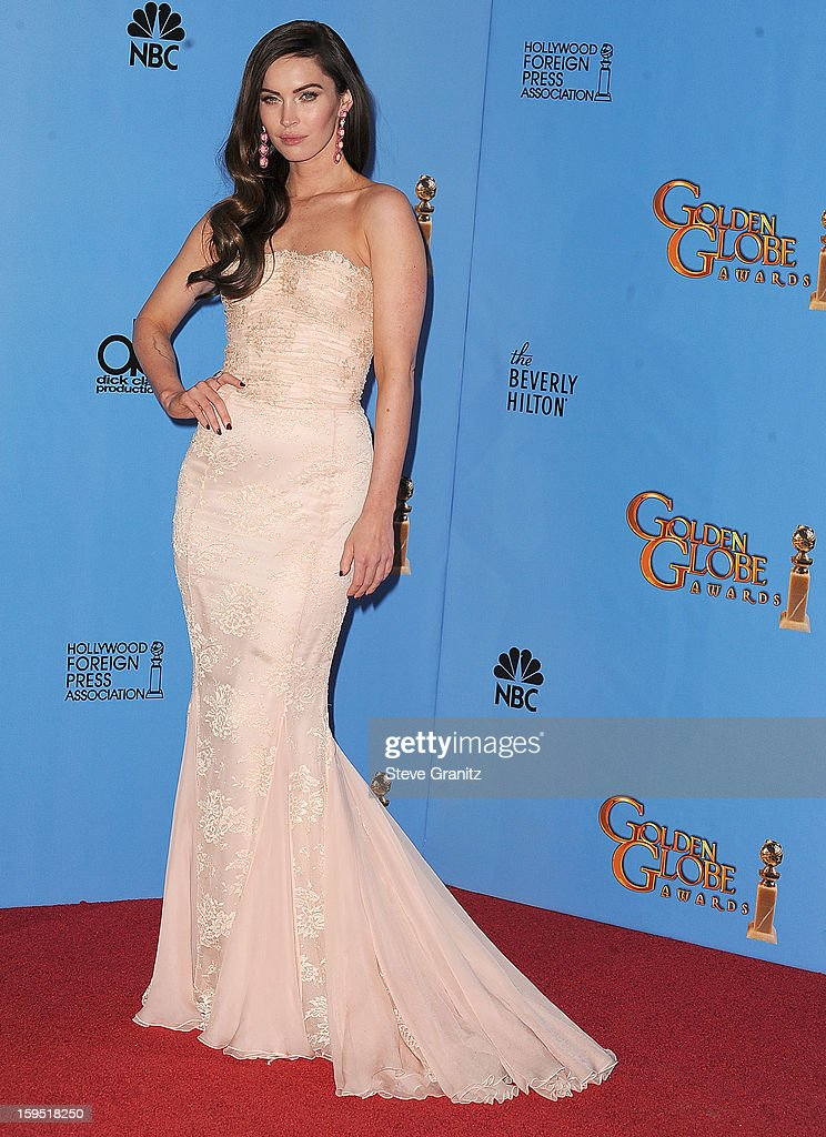 Megan Fox poses at the 70th Annual Golden Globe Awards at The Beverly Hilton Hotel on January 13, 2013 in Beverly Hills, California.