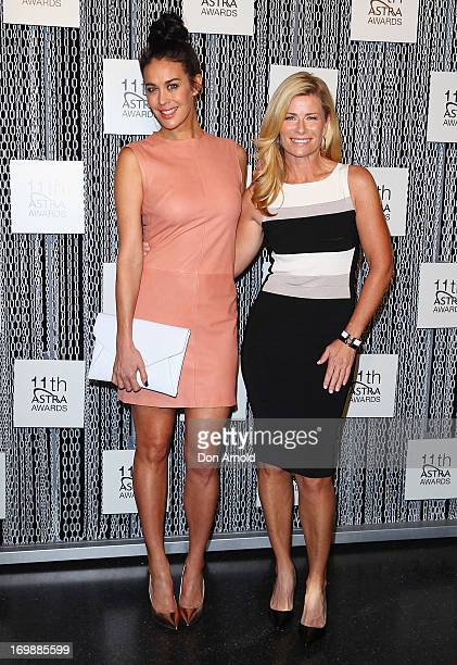 Megan Gale and Deborah Hutton pose during a media call where the ASTRA Awards Finalists are announced at Sydney Theatre on June 4 2013 in Sydney...