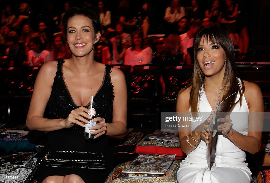 Megan Gale and <a gi-track='captionPersonalityLinkClicked' href=/galleries/search?phrase=Eva+Longoria&family=editorial&specificpeople=202082 ng-click='$event.stopPropagation()'>Eva Longoria</a> pose before the Camilla Show during Melbourne Fashion Festival on March 19, 2014 in Melbourne, Australia.
