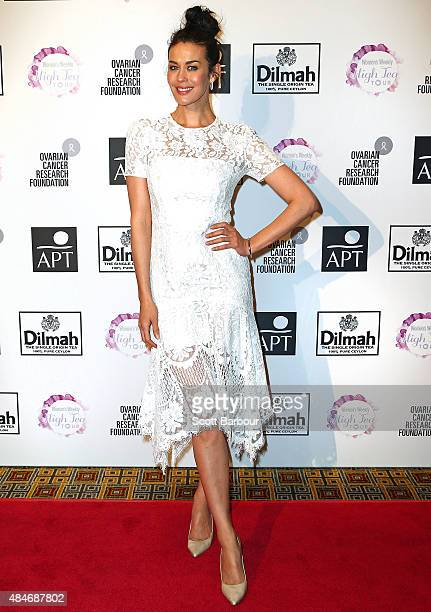 Megan Gale arrives ahead of The Australian Women's Weekly and OCRF High Tea at Crown Melbourne on August 21 2015 in Melbourne Australia