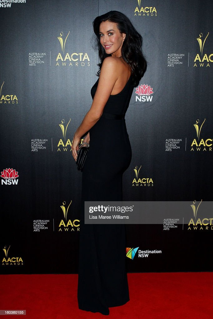 Megan Gale arrives at the 2nd Annual AACTA Awards at The Star on January 30, 2013 in Sydney, Australia.