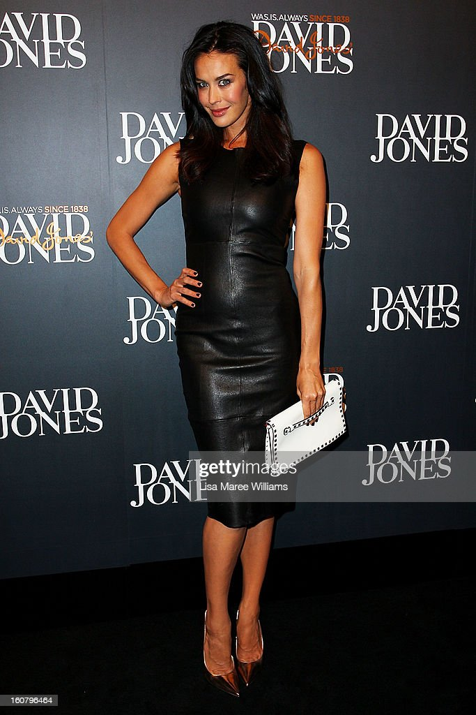 Megan Gale arrives at the David Jones A/W 2013 Season Launch at David Jones Castlereagh Street on February 6, 2013 in Sydney, Australia.