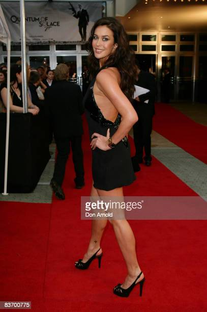 Megan Gale arrives for the Australian premiere of 'Quantum of Solace' at the Hoyts Cinema in the Entertainment Quarter on November 15 2008 in Sydney...