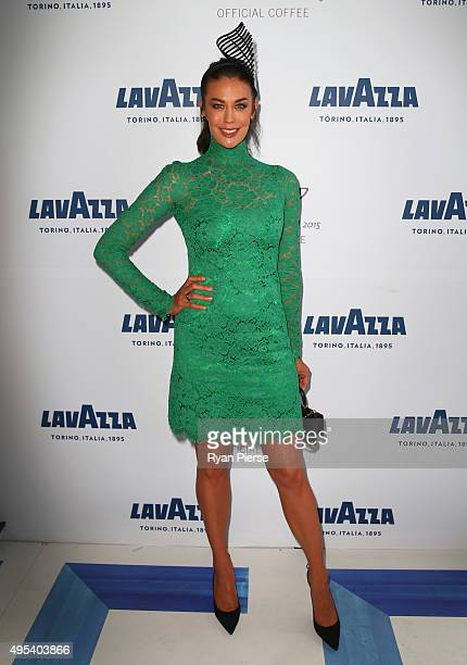 Megan Gale poses at the Lavazza Marquee on Melbourne Cup Day at Flemington Racecourse on November 3 2015 in Melbourne Australia