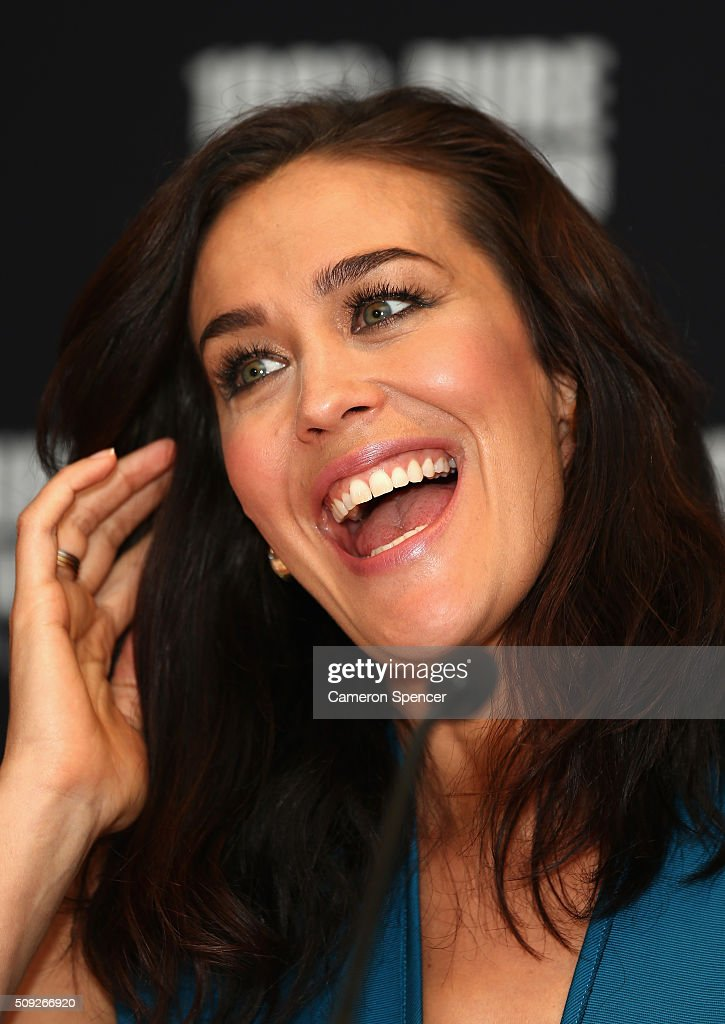 Megan Gale talks after being announced as Tourism New Zealand's celebrity ambassador promoting 100% Pure New Zealand's cycling campaign during a press conference at Four Seasons Hotel on February 10, 2016 in Sydney, Australia.
