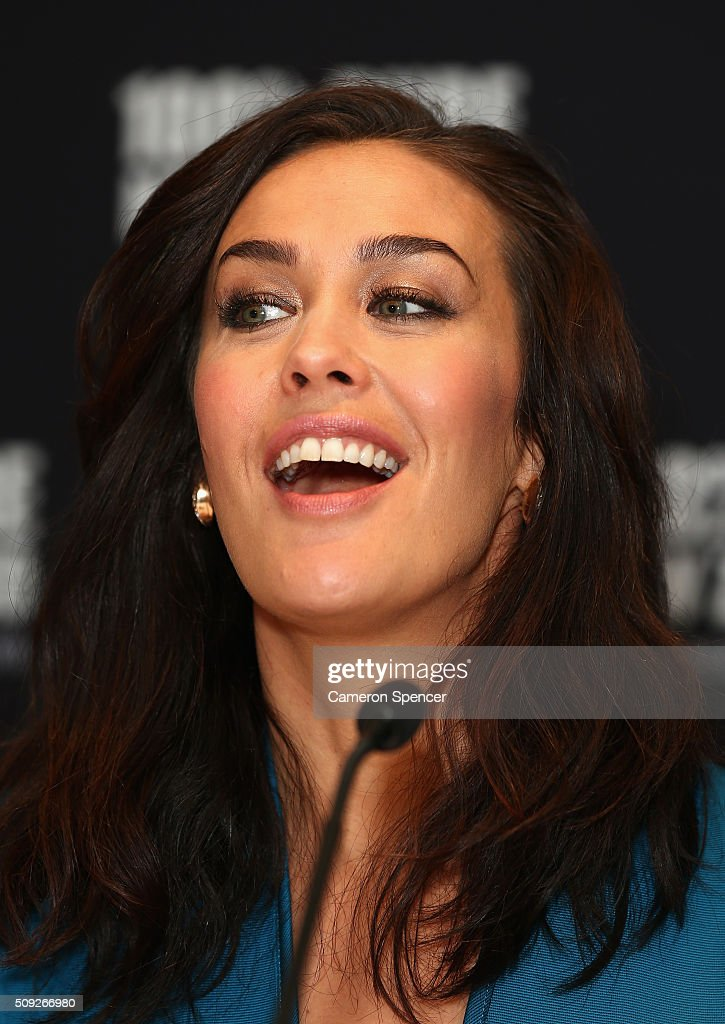 <a gi-track='captionPersonalityLinkClicked' href=/galleries/search?phrase=Megan+Gale&family=editorial&specificpeople=202042 ng-click='$event.stopPropagation()'>Megan Gale</a> talks after being announced as Tourism New Zealand's celebrity ambassador promoting 100% Pure New Zealand's cycling campaign during a press conference at Four Seasons Hotel on February 10, 2016 in Sydney, Australia.