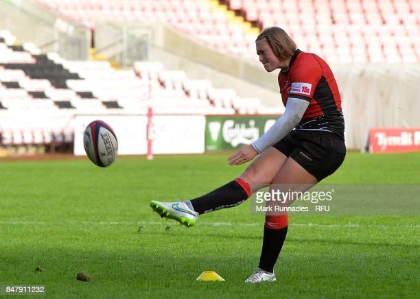 Megan Goddard of GloucesterHartpury Women's RFC kicks a penalty during the Womens Tyrrells Premier 15s match between Darlington Mowden Park Sharks...