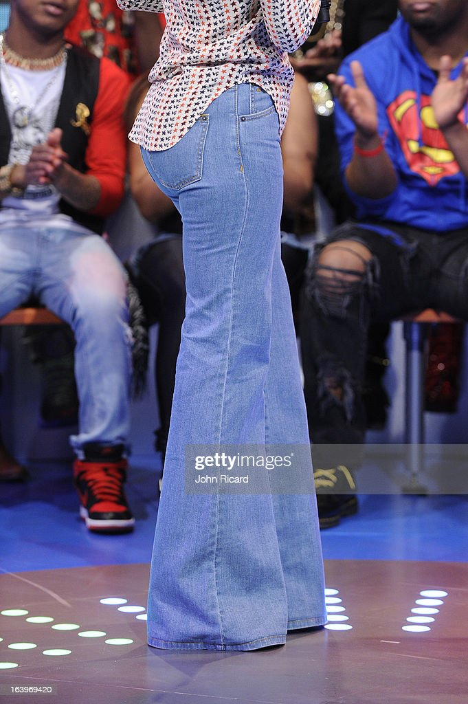 Megan Good (fashion detail) visits BET's '106 & Park' at BET Studios on March 18, 2013 in New York City.