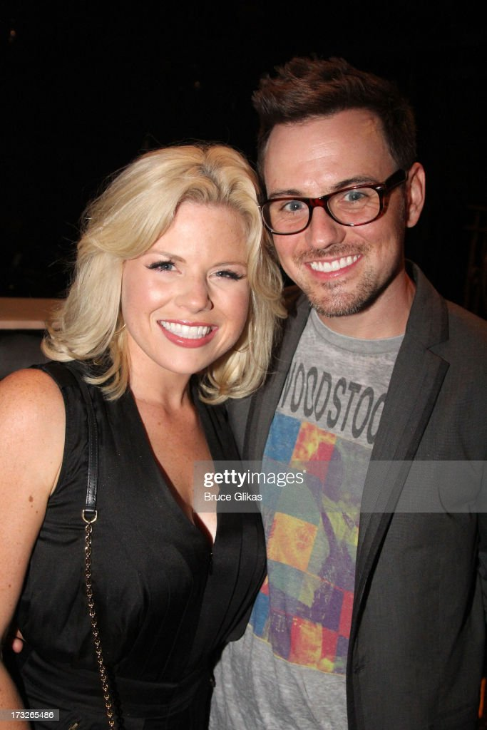 Megan Hilty and boyfriend Brian Gallagher pose backstage at the new musical 'First Date' at The Longacre Theater on July 10 2013 in New York City