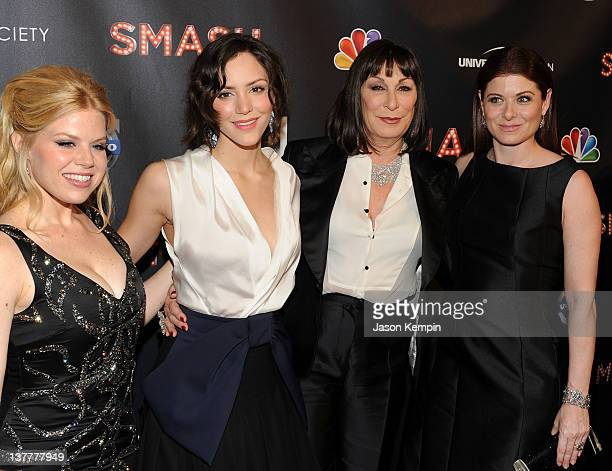 Megan Hilty Katharine McPhee Anjelica Huston and Debra Messing attend the NBC Entertainment Cinema Society with Volvo premiere of 'Smash' at the...