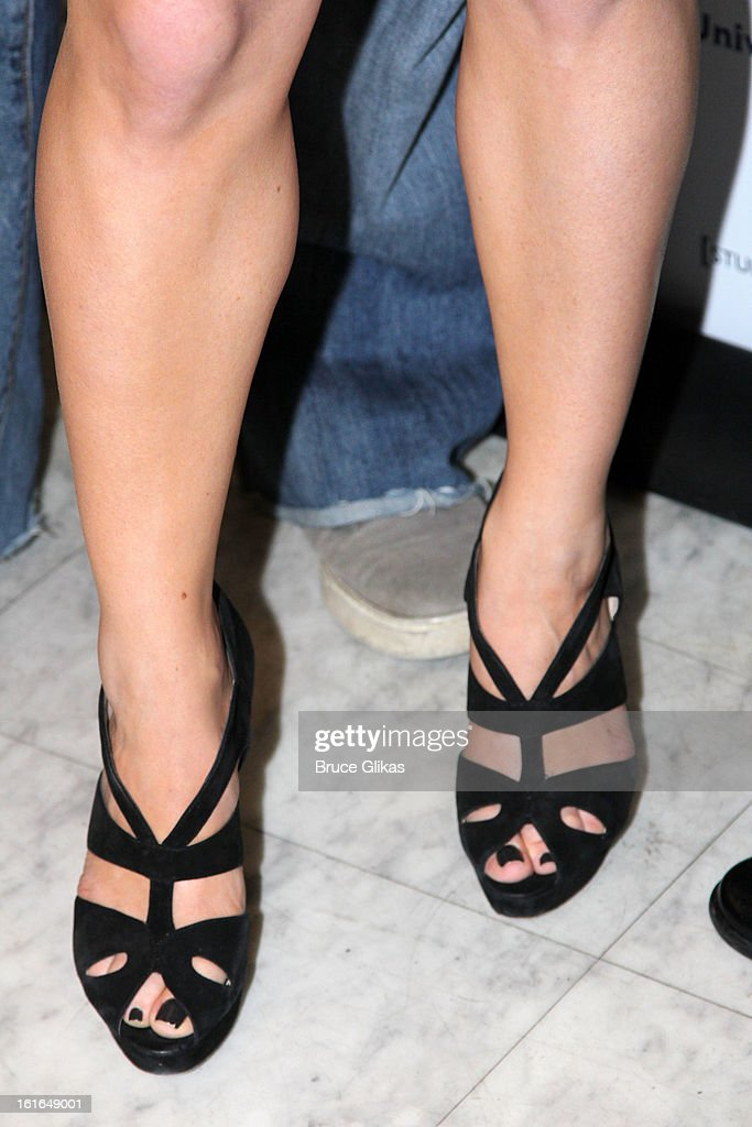 <a gi-track='captionPersonalityLinkClicked' href=/galleries/search?phrase=Megan+Hilty&family=editorial&specificpeople=602492 ng-click='$event.stopPropagation()'>Megan Hilty</a> shoe detail at The 'Bombshell: The New Marilyn Musical from Smash Cast Recording' CD signing at NBC Experience Store on February 13, 2013 in New York City.