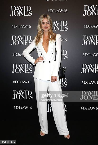 Megan Irwin arrives ahead of the David Jones Autumn/Winter 2016 Fashion Launch at David Jones Elizabeth Street Store on February 3 2016 in Sydney...