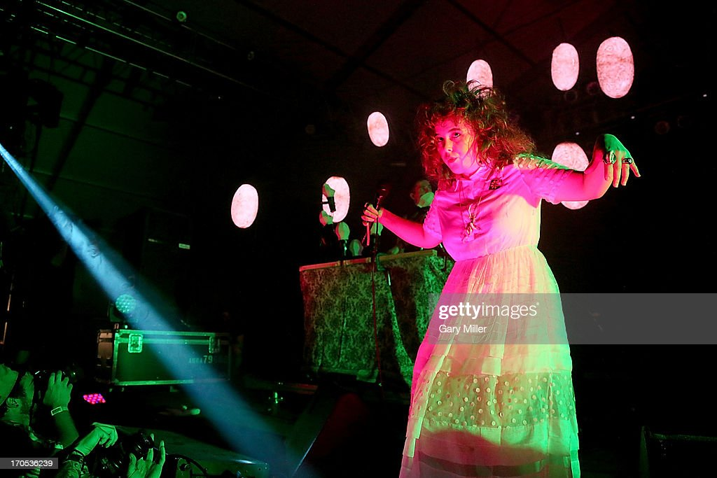 Megan James of Purity Ring performs during the 2013 Bonnaroo Music & Arts Festival on June 13, 2013 in Manchester, Tennessee.