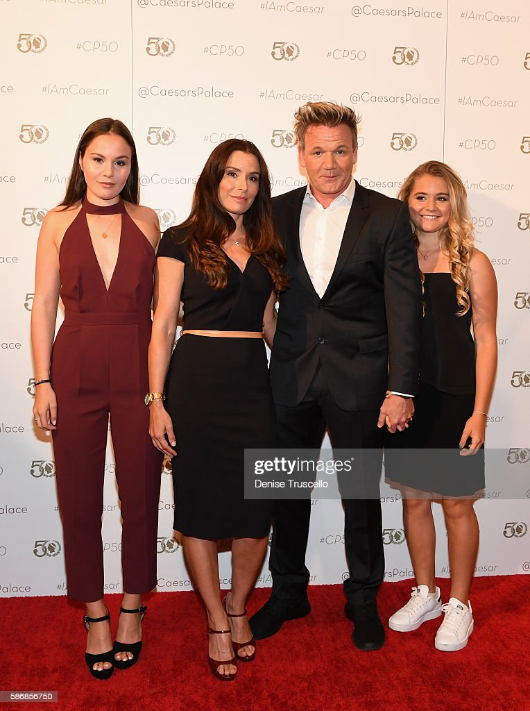 Megan Jane Ramsay, Tana Ramsay, chef Gordon Ramsay and Matilda Elizabeth Ramsay arrive at Caesars Palace during the resort's 50th anniversary gala on August 6, 2016 in Las Vegas, Nevada.