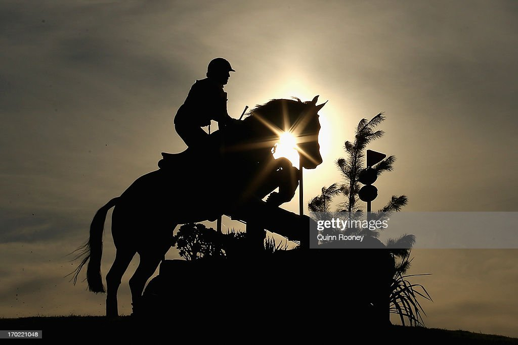 <a gi-track='captionPersonalityLinkClicked' href=/galleries/search?phrase=Megan+Jones&family=editorial&specificpeople=2500715 ng-click='$event.stopPropagation()'>Megan Jones</a> of Australia riding Flowervale Maserati competes in the Cross Country during the Melbourne International Three Day Event at Werribee Park Mansion and the National Equestrian Centre on June 9, 2013 in Melbourne, Australia.