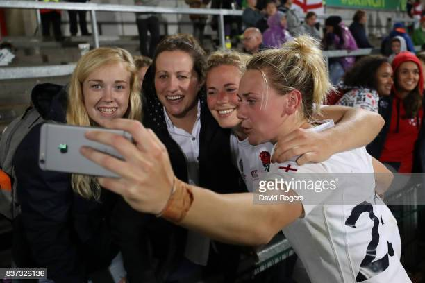 Megan Jones of England celebrate following her team's 203 victory during the Women's Rugby World Cup 2017 Semi Final match between England and France...