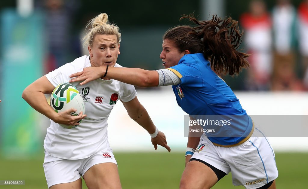 Megan Jones of England is tackled by Maria Magatti of Italy during the Women's Rugby World Cup 2017 between England and Italy on August 13, 2017 in Dublin, Ireland.