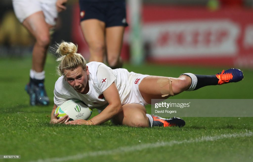 Megan Jones of England scores her team's second try during the Women's Rugby World Cup 2017 Semi Final match between England and France at the Kingspan Stadium on August 22, 2017 in Belfast, United Kingdom.