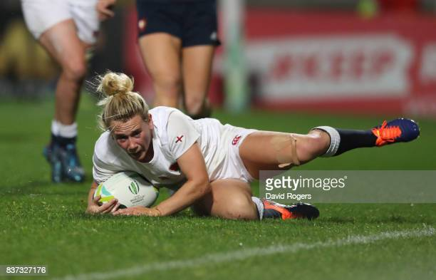 Megan Jones of England scores her team's second try during the Women's Rugby World Cup 2017 Semi Final match between England and France at the...
