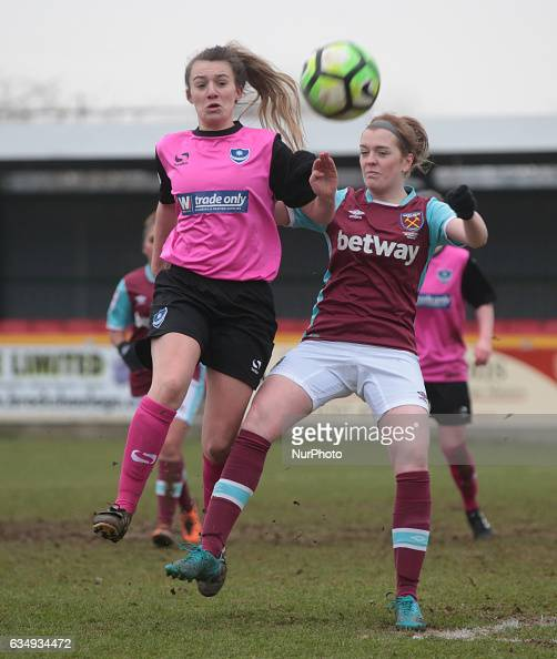 Megan Jones of Portsmouth Ladies takes on West Ham United Ladies Chantelle Mackie during FA Women's Premier League Southern Division West Ham United...