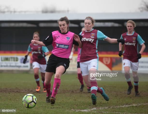 Megan Jones of Portsmouth Ladies takes on West Ham United Ladies Chantelle Mackie during FA Women's Premier League Southern Division West Ham United...
