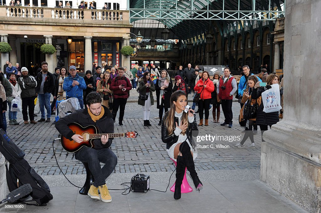 Megan McKenna busking in Covent Garden at Covent Garden Piazza on February 10, 2016 in London, England.