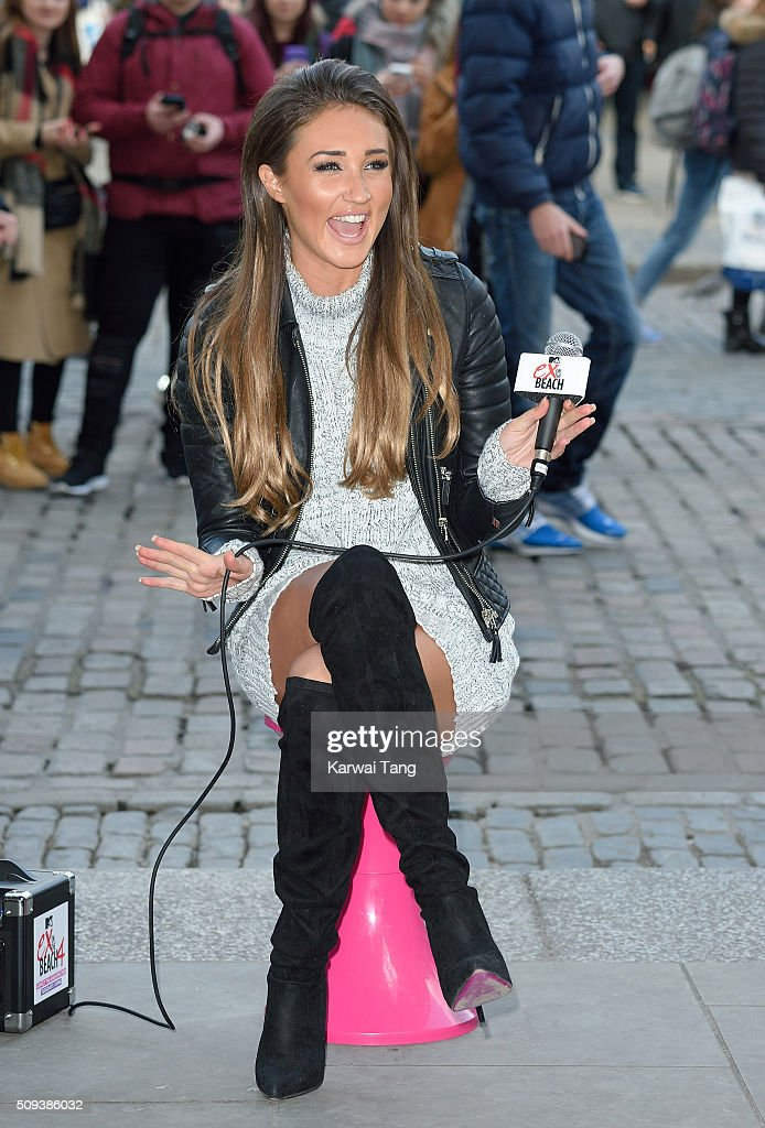 Megan McKenna busking in Covent Garden prior to her current appearance on MTV's Ex on the Beach on February 10, 2016 in London, England.