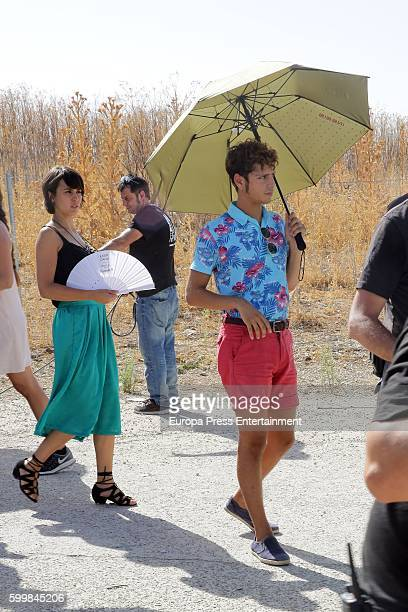 Megan Montaner and Eduardo Casanova are seen during the set filming of 'Senor Dame Paciencia' on September 6 2016 in Campo Real Spain