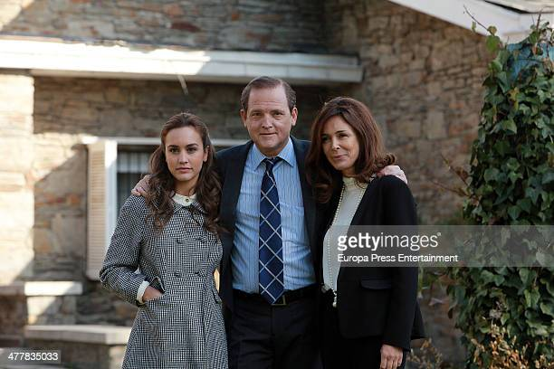 Megan Montaner Jordi Rebellon and Lydia Bosch attend the presentation of 'Sin Identidad' Antena 3 Tv serie on March 11 2014 in Madrid Spain