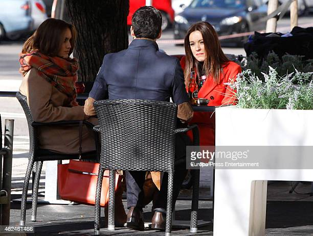 Megan Montaner Veronica Sanchez and Miguel Angel Munoz are seen on 'Sin Identidad' set filming on January 28 2015 in Madrid Spain
