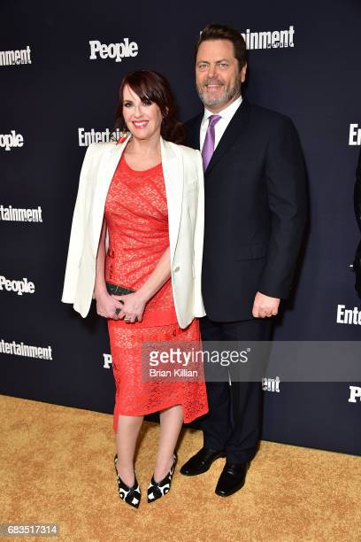 Megan Mullally and Nick Offerman attend the Entertainment Weekly People New York Upfronts at 849 6th Ave on May 15 2017 in New York City