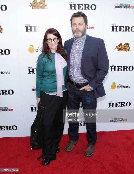 Megan Mullally and Nick Offerman attend the Premiere Of The Orchard's 'The Hero' at the Egyptian Theatre on June 5 2017 in Hollywood California