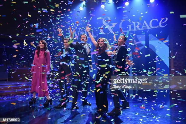 Megan Mullally Eric McCormack Debra Messing and Sean Hayes of The Cast Of 'Will Grace' Visit 'The Tonight Show Starring Jimmy Fallon' at Rockefeller...
