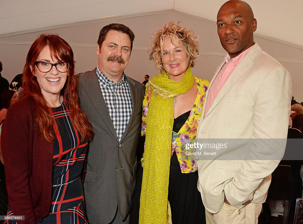 <a gi-track='captionPersonalityLinkClicked' href=/galleries/search?phrase=Megan+Mullally&family=editorial&specificpeople=201612 ng-click='$event.stopPropagation()'>Megan Mullally</a>, <a gi-track='captionPersonalityLinkClicked' href=/galleries/search?phrase=Nick+Offerman&family=editorial&specificpeople=3142027 ng-click='$event.stopPropagation()'>Nick Offerman</a>, <a gi-track='captionPersonalityLinkClicked' href=/galleries/search?phrase=Fiona+Hawthorne&family=editorial&specificpeople=645816 ng-click='$event.stopPropagation()'>Fiona Hawthorne</a> and <a gi-track='captionPersonalityLinkClicked' href=/galleries/search?phrase=Colin+Salmon&family=editorial&specificpeople=209000 ng-click='$event.stopPropagation()'>Colin Salmon</a> attend day two of the Audi Polo Challenge at Coworth Park on May 29, 2016 in London, England.