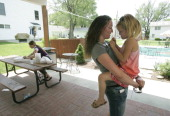 Megan PhelpsRoper the granddaughter of fundamentalist preacher Fred Phelps of the Westboro Baptist Church in Topeka Kansas holds her cousins daughter...