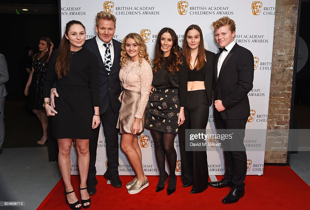 Megan Ramsay, Gordon Ramsay, Matilda Ramsay, Tana Ramsay, Holly Ramsay and Jack Ramsay at the BAFTA Children's Awards at The Roundhouse on November 20, 2016 in London, England.